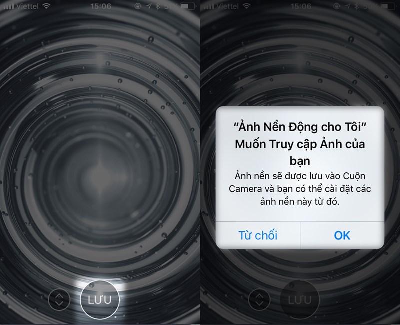 nhấp vàoLưuvà cho phép ứng dụng lưu hình vào cuộn camera