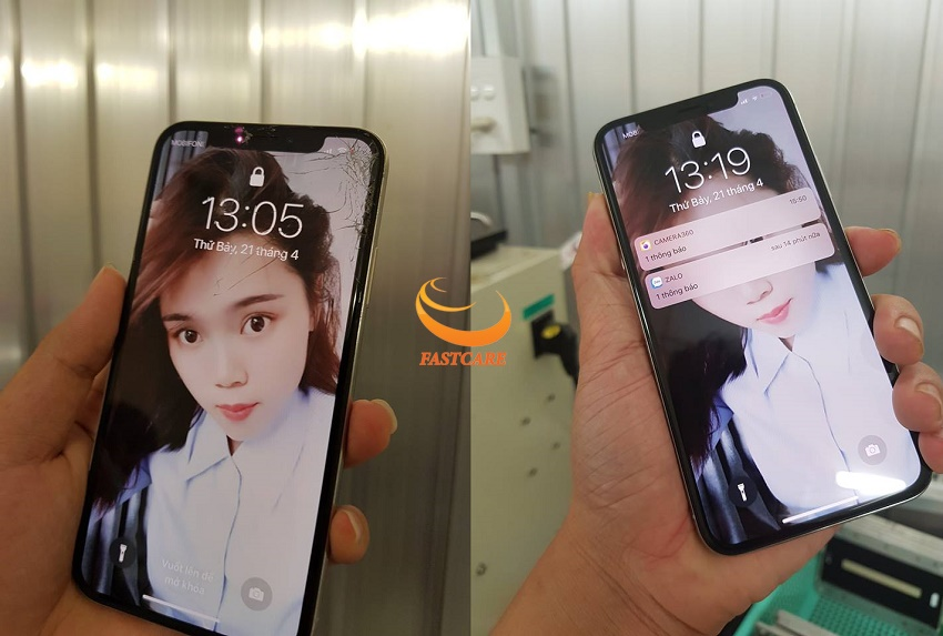 iPhone x bị nứt kính ở một góc màn hình