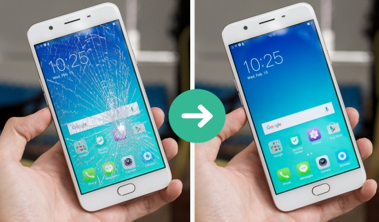 Thay mat kinh Oppo F1s 2017