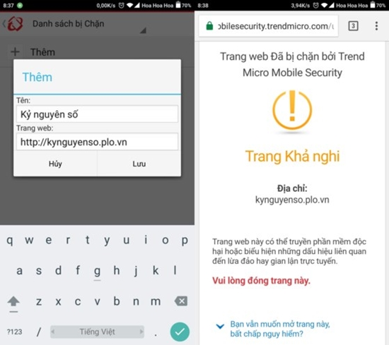 Cach chan trang web tren Android