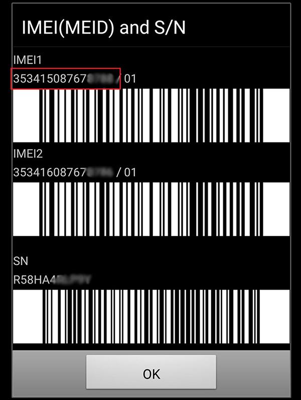 Cách kiểm tra imei Samsung