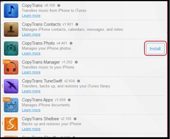 Sử dụng CopyTrans Photo để copy ảnh vào iphone