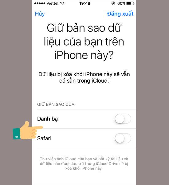 cach thoat iCloud tren iPhone