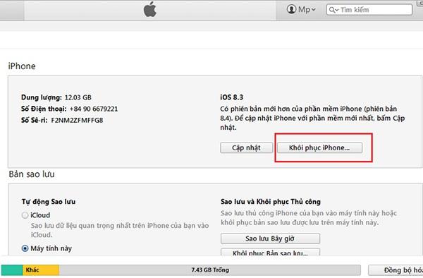Restore iphone 7 Plus