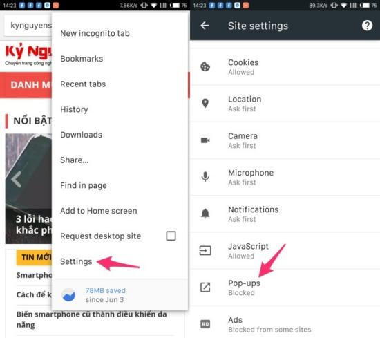 tat popup tren Android