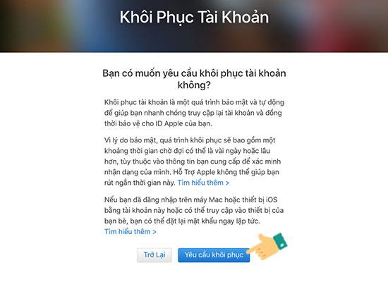 cach lay lai mat khau iCloud iPhone