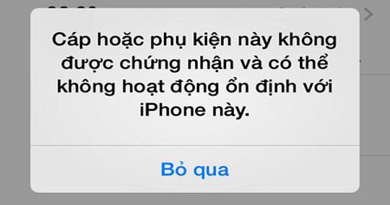 Lỗi iPhone không nhận phụ kiện