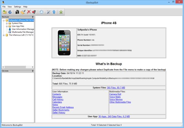 iBackupBot - phần mềm giúp bạn kiểm tra độ chai pin trên iPhone