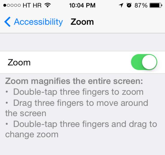 màn hình iPhone 7 Plus bị phóng to