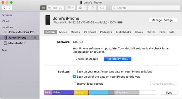 Restore iPhone Xs Max