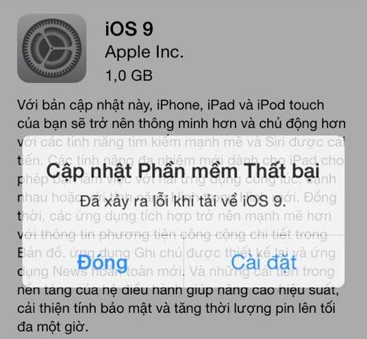 loi dien thoai iphone khong cap nhat duoc phan mem