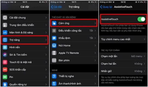 bật nút Home ảo trên iPhone 11 Pro Max