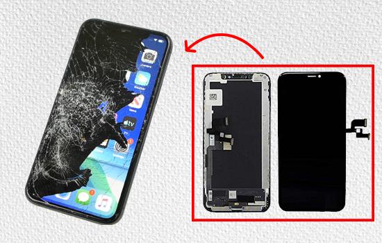 thay man hinh iphone 11 pro khi may bi chay muc