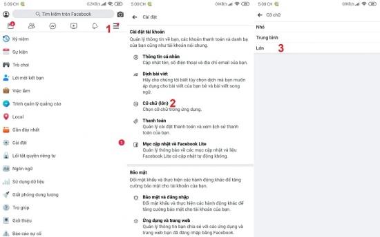 cach chinh co chu Facebook tren dien thoai