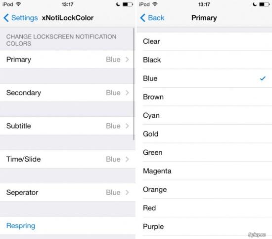 Có nhiều màu sắc khác nhau để bạn lựa chọn cho mỗi mục