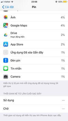 Lỗi không hiển thị thời gian sử dụng pin trên iPhone
