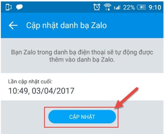 Cập nhật danh bạ trên Zalo